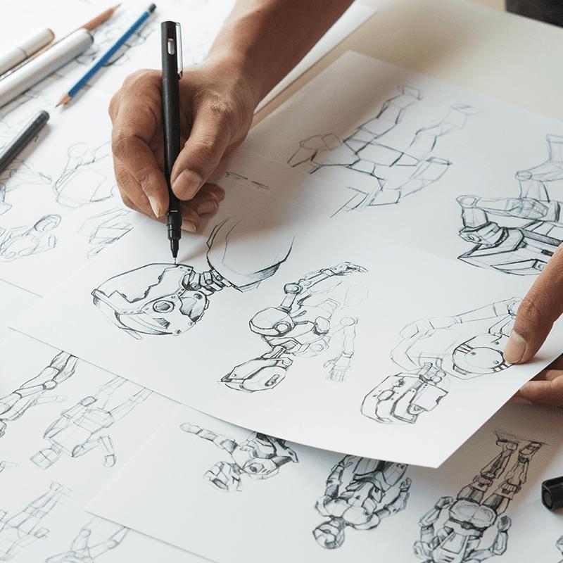 Photo d'une personne en train de réaliser une illustration