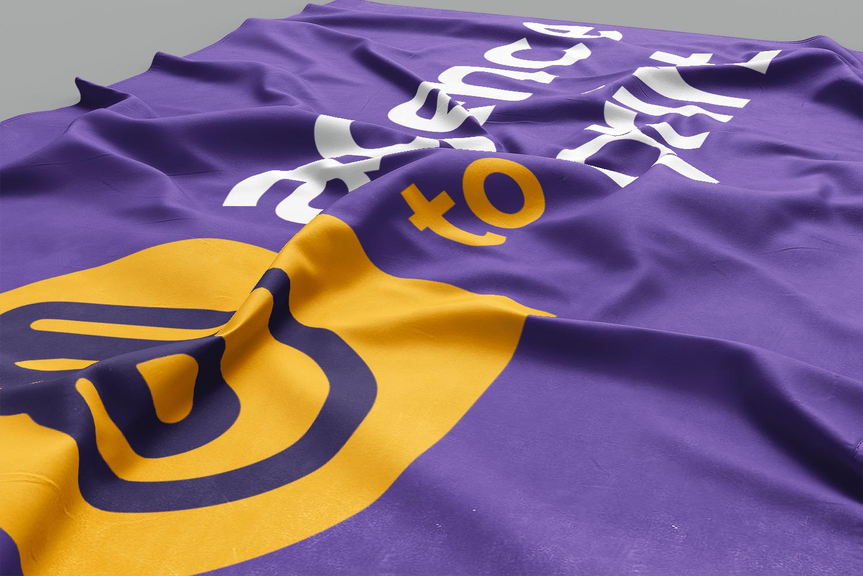 Photo d'un drapeau publicitaire personnalisé