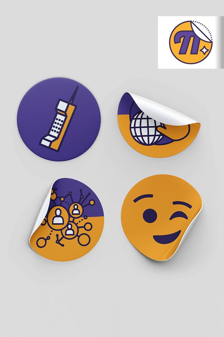 Image de quatre adhésifs rond de couleur jaune et violette